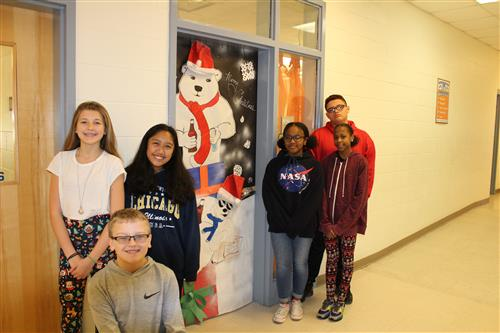 Christmas Door Decoration Contest Winner (Mrs. J. Moseley's 3rd period class)